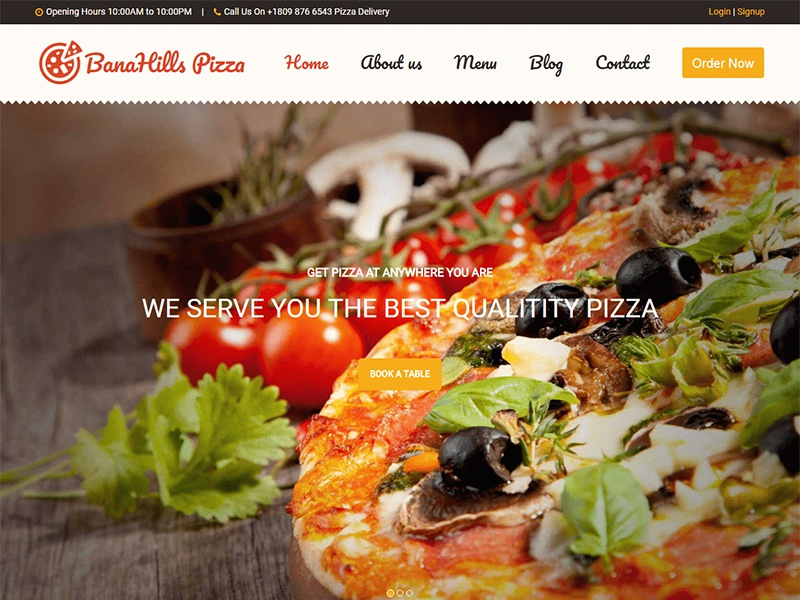 banahills pizza restaurant table booking html template by