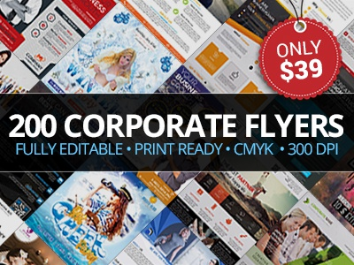 200 Corporate Flyers with Extended License - Only $39 offer design graphic cmyk ready print deal bundle corporate flyer
