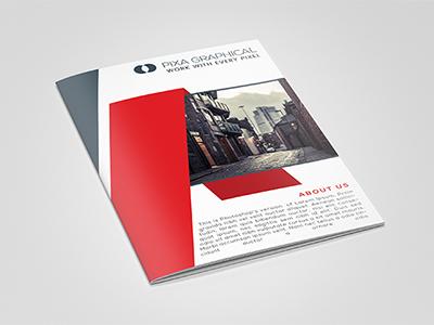 Corporate Bi-Fold Brochure Design layered photoshop stylish modern corporate brochure bifold