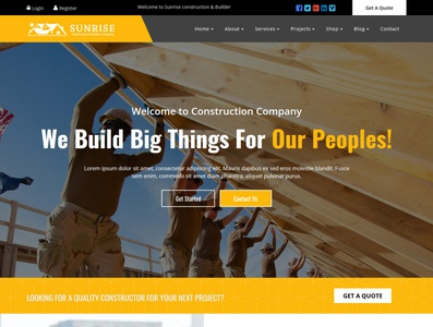Sunrise Construction & Builder Company Responsive HTML Template industry corporate construction clean business building company builder architecture