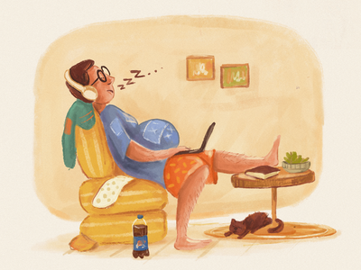 Post-biriyani hours! WFH. procreate digitalart illustration digital illustration workfromhome