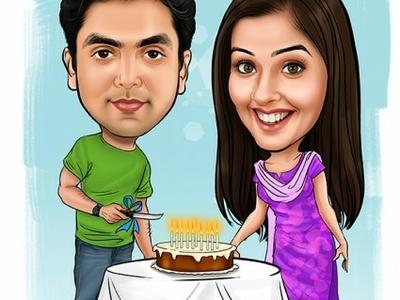Birthday Caricature Cake Cutting