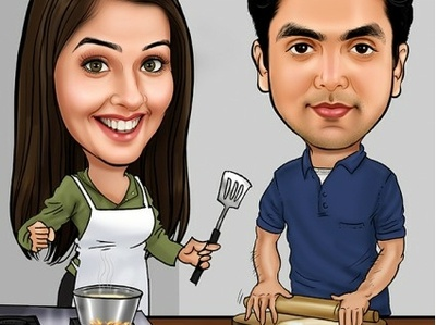 Birthday Caricature with cooking