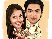 Romantic Kerala Wedding Caricature