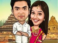 South Indian Wedding Caricature