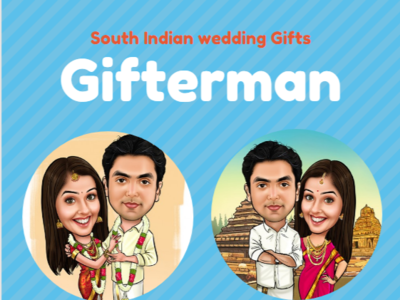 South Indian Wedding Caricature caricature wedding gift south indian wedding gift