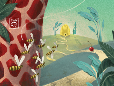 Golden destination animation film children book illustration childrens illustration editorial illustration editorial bee animal character creature characterdesign conceptart digital landscape whimsical branding illustrator illustration