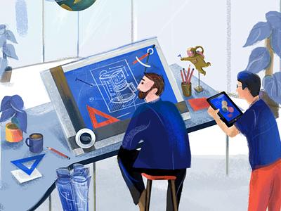 Visual illustration illustration art office surreal visual design visual branding design website web ui  ux ux editorial ui characterdesign digital animation charactercreation branding illustrator character illustration