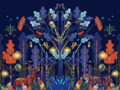 Whimsical Garden Court conceptart wallmural forest landscape night site mall website photoshop digital installation mural illustration branding whimsical pattern design illustrator design animation