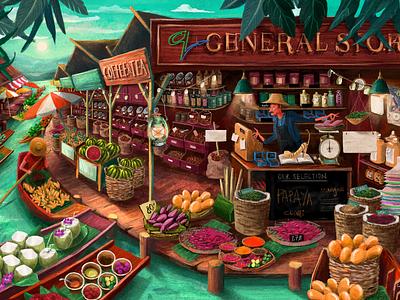 General Store website concept travel website ui thailand floatingmarket mural creature character charactercreation conceptart digital animation whimsical landscape illustrator forest design branding illustration