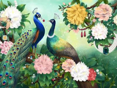 Majestic creatures in the garden website floral peacock birds mural restaurant jewelry painting digital digitalart creatures branding conceptart illustrator illustration