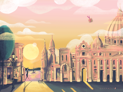 The Golden Hour - Life keeps sending us wonderful 'gifts' landscape illustration branding agency fashion shop design jewelry store jewelry branding jewelry luxury luxury branding boutique charactercreation animation character landscape design digital illustration illustrator conceptart branding