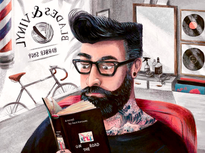 The Hipster at Blade and Vinyl hipster sketch editorial characterdesign branding graphic design character illustrator illustration