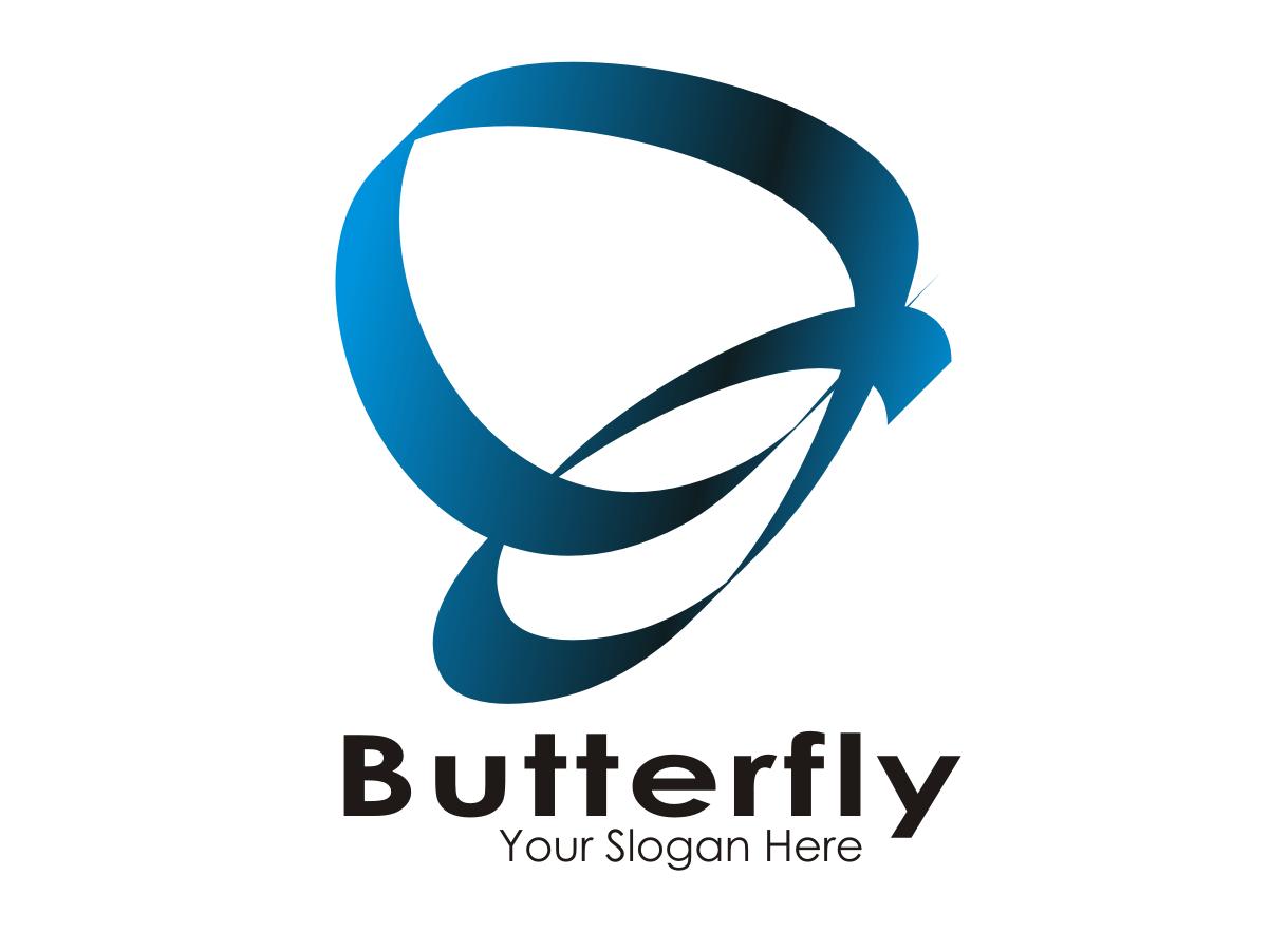 Logo Butterfly poster bisnis datar vektor pamflet logo cover art merek ilustrasi desain