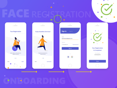 Face Registration Onboarding Concept login ios application ios app design ios apps ios sign in screen illustraion onboarding ui onboarding screen onboarding mobile apps mobile app face registration