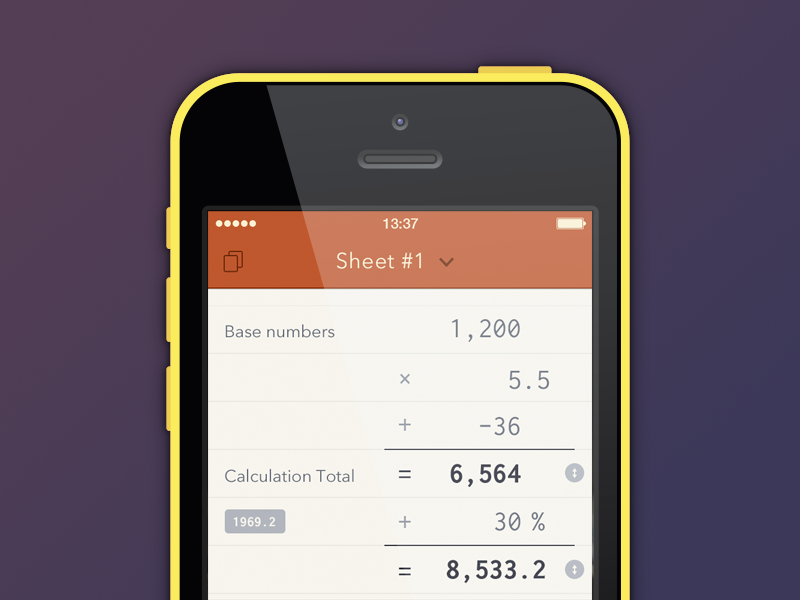 Scalar UI iOS7 - #latershot ios7 ui design calculator scalar burgundy iphone app