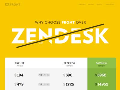Front vs Zendesk - Fight. versus comparison zendesk front yellow header agressive passive web