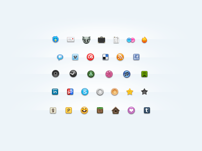 Seize Final icon pack pixel seize 16 twitter mail deviantart suitcase resume flickr ember aim vimeo lastfm delicious rss facebook iphone steam forrst dribbble itunes spotify linkedin gamersband skype gold silver coin star goodreads posterous mrsmiley minecraft lovedsgn tumblr