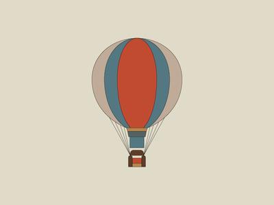 Itinerant Living Room 2 minimalistic illustration mark logo balloon fly air clouds hot air balloon