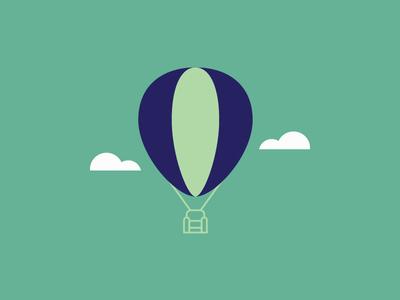 Itinerant Living Room 3 minimalistic illustration mark logo balloon fly air clouds hot air balloon