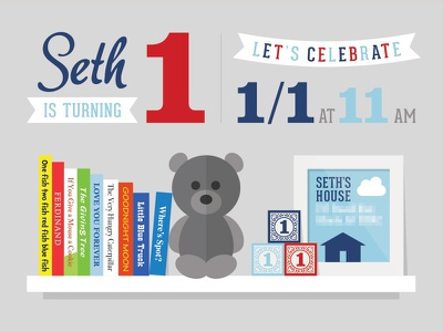 1st Birthday Party Invitation teddy bear shelf banner illustration bear books invitation party birthday first 1st