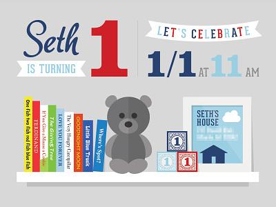 1st Birthday Party Invitation teddy bear shelf banner illustration bear books invitation party birthday first 1st