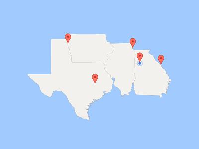 #SLDrefuel 18 of 52 —United States of Steven chicago atlanta illinois iowa georgia texas map states united usa sldrefuel