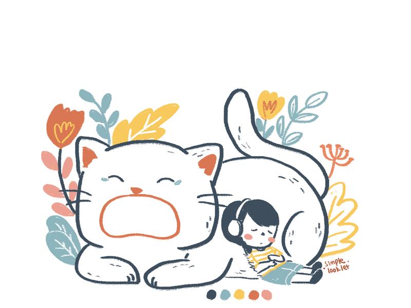 Take a Nap children illustration kid lit design children art character simplelooklet illustration doodle digital cat drawing artwork