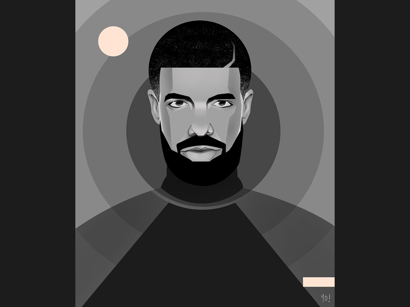 Drake design graphicdesgn digital artist singer rapper potrait vector art illustration