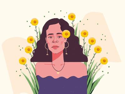Girl beauty flowers women potrait design illustration