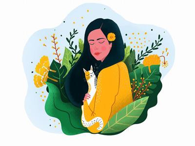 Girl 2 forest vector cats women potrait beauty illustration