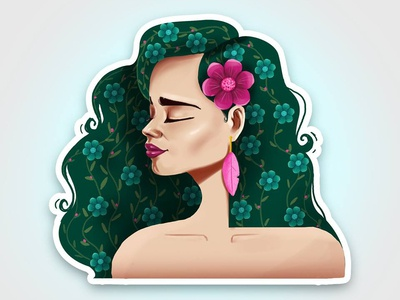 Girl 3 hair flowers vector women potrait illustration beauty