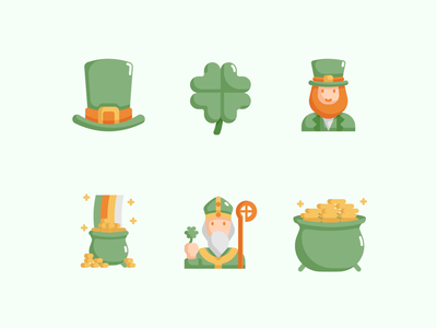 ☘️ Saint Patricks Day Icon Set 💚 march shamrock clover celebration ireland cute icon day patrick st