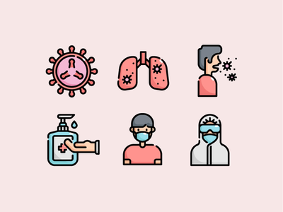 🦠 Virus Transmission Icon Set 🔬 illustration vector  icon  health  transmission corona  covid19  covid  virus