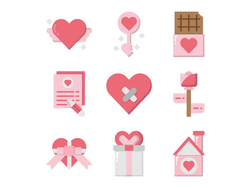 Valentine's Day icon set heart wedding love valentines day icon valentines