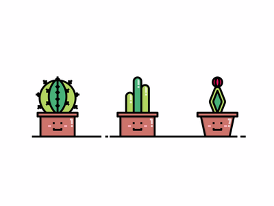 CACTUS ICON SET cute cacti cactus vector graphicdesign illustrator icondesign icon