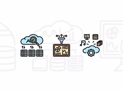 Big data and Analytics icon set cute illustrator data database graphicdesign icondesign vector technology analytic bigdata icon