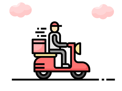 🛵 Restaurant Service icon set 🍽🍟 simple cute icon transportation service restaurant motorcycle man food delivery