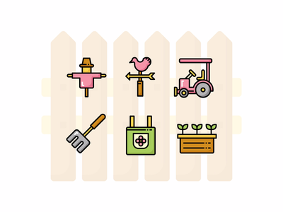 ☘️🌸 Gardening Icon set 🌸☘️ spring tools simple plant cute farm garden icon