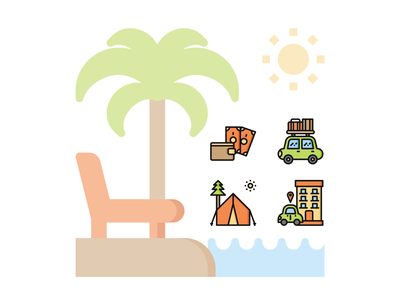 🚙 Travel and vacation Icon set 🏕 icons icon cute pocket beach sea relax hotel holiday summer vacation travel