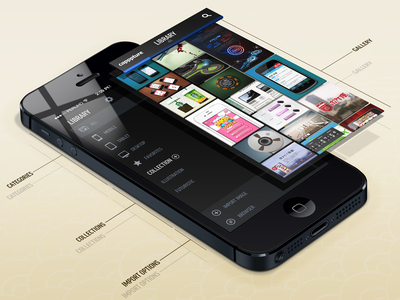 Capppture App app perspective iphone gallery orthographic side menu icon snap