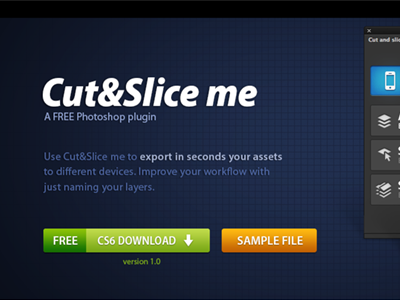 Cut&Slice me web plugin wip photoshop layers panel free button