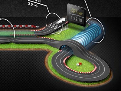 VOICE DRIVER CUP - circuit illustration circuit race japanese grass tire tunnel ipad timer cannes lions