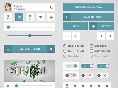 touch50px UI Kit (PSD) free download ui kit green simple nice 50px touch psd design
