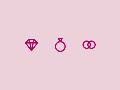Outline icons Day 52 - Wedding rings diamond wedding 24px vector illustrator icon outline