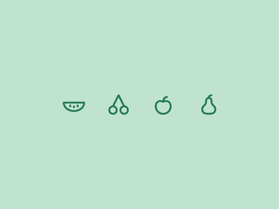 Outline icons Day 55 - Fruit cherries pears melon apple 24px vector illustrator icon outline