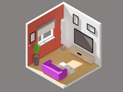Blender Isometric Room Low Poly render 3d room isometric blender