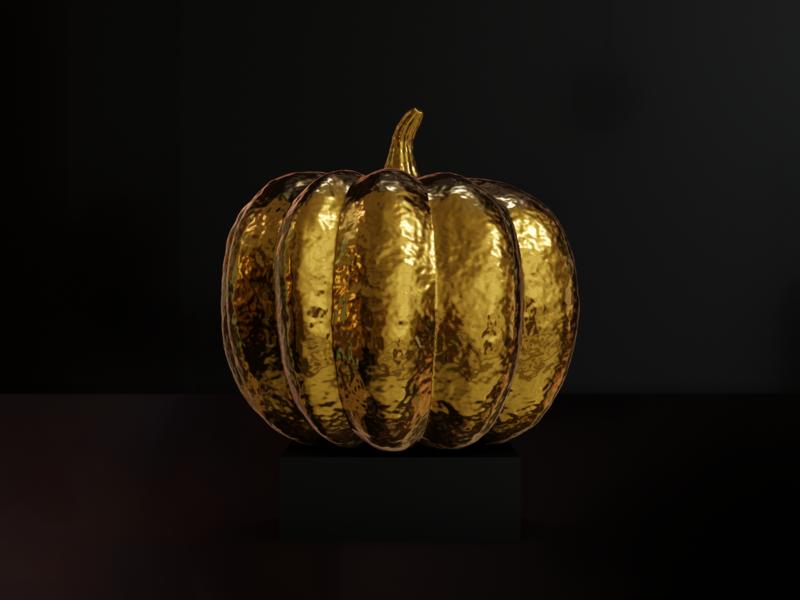 GOLD pumpkin render gold pumpkin blender 3d