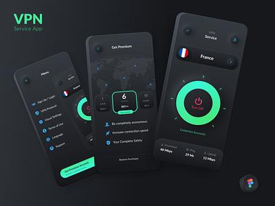 VPN Service app ios app application app figmadesign figma interface interaction design ios ios app design uidesign uiux uxdesign uxui design vpn app