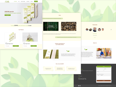 Greenr Website xd design photoshop pencils eco website landing page